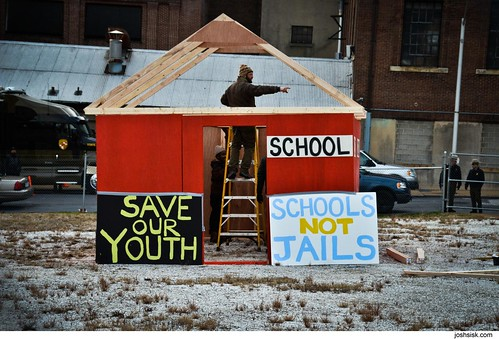 Schools Not Jails protest