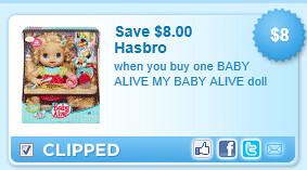 Baby Alive My Baby Alive Doll Coupon