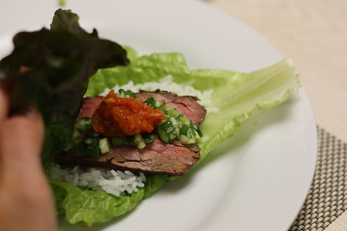 Steak ssam lettuce wrapped