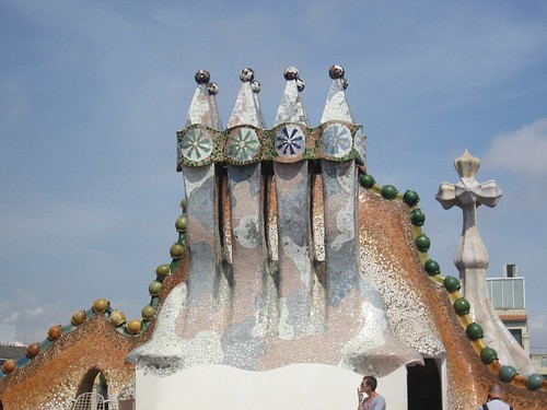 On the roof of Casa Batlló