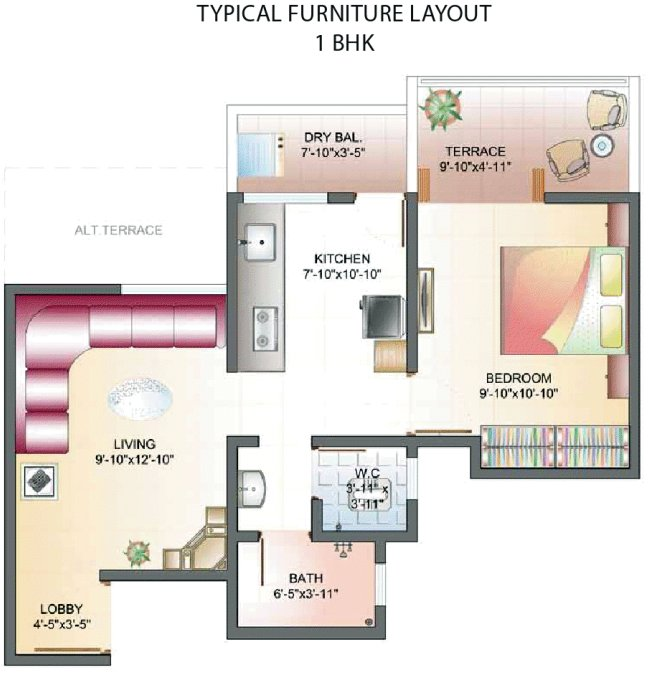 All Inclusive Property Price of a 1 BHK Flat - 408 sq.ft. Carpet + 50 sq.ft. Terrace - Rs. 20,99,983 at Dreams Wisteria, 1 BHK & 2 BHK Flats at Pisoli, Pune 411 028