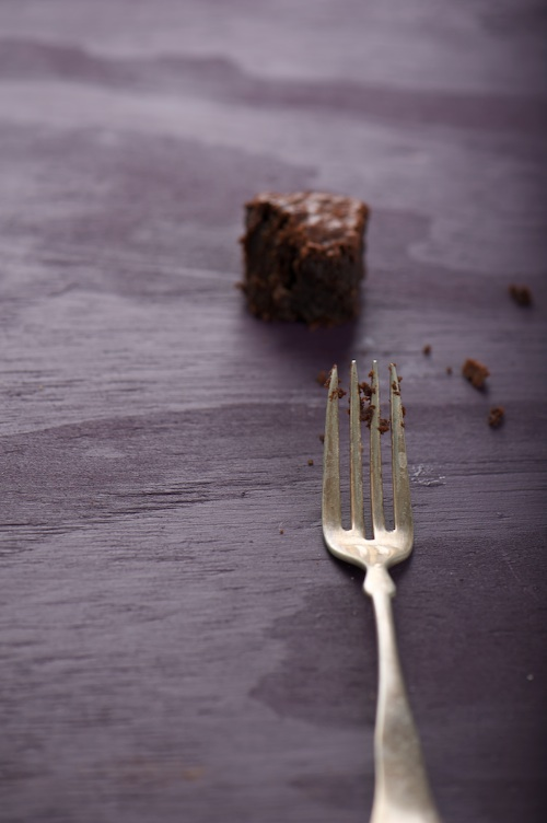 almond brownie fork