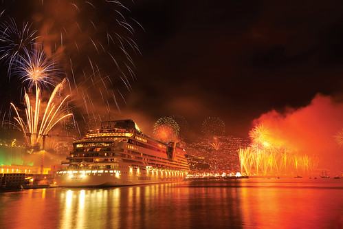 The world famous New Year celebrations over Madeira's main harbour