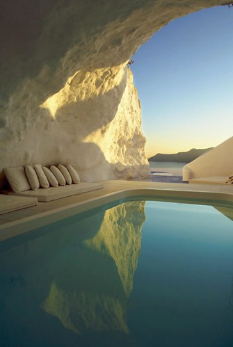 Natural pool in Santorini Greece