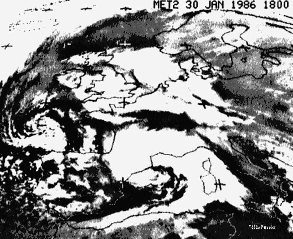 image satellite de la dépression et sa perturbation neigeuse des 30 et 31 janvier 1986 météopassion