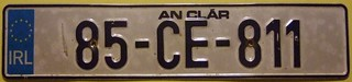 IRELAND, COUNTY CLARE 1985 ---LICENSE PLATE