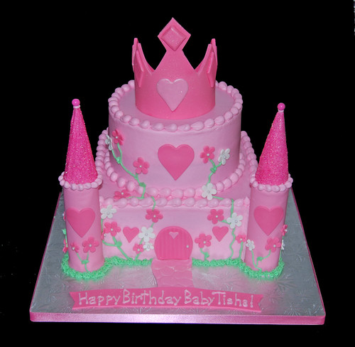 Pink Princess Birthday Castle Cake with Tiara