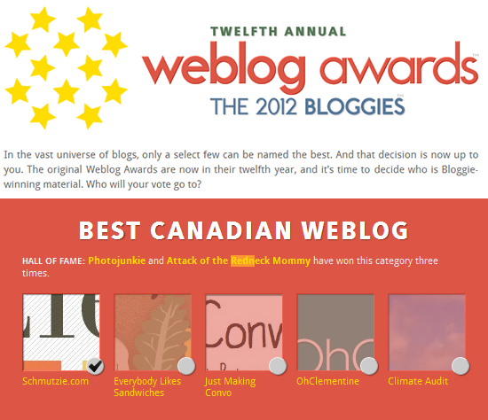 I'm up in the 2012 Bloggies