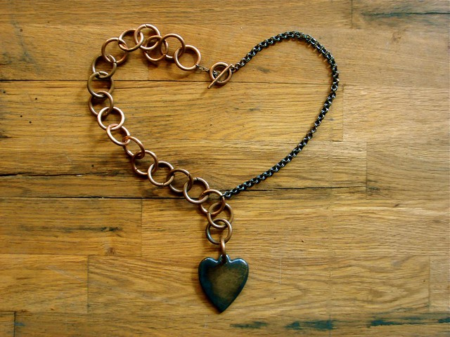 and the big copper chain & the brass heart from Flickr via Wylio