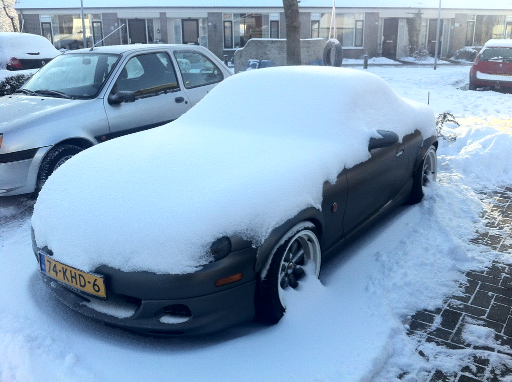 snow covered miata