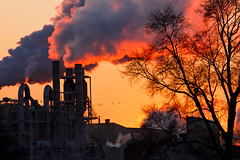 日落時分,來自玉米加工設施的空氣污染。2012年2月攝於伊利諾伊州Summit鎮(圖片由David Zembower提供)。