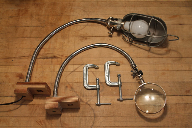Clamp Lamp and Clamp Magnifying Glass - unclamped