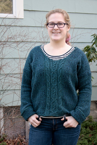 Woven and knitted sweater