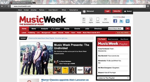 Music Week Webiste Front Page
