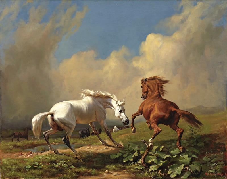 Rudolf Koller - Scheuende Pferde bei aufziehendem Gewitter