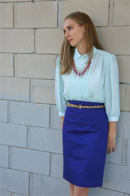 Royal blue pencil skirt outfit