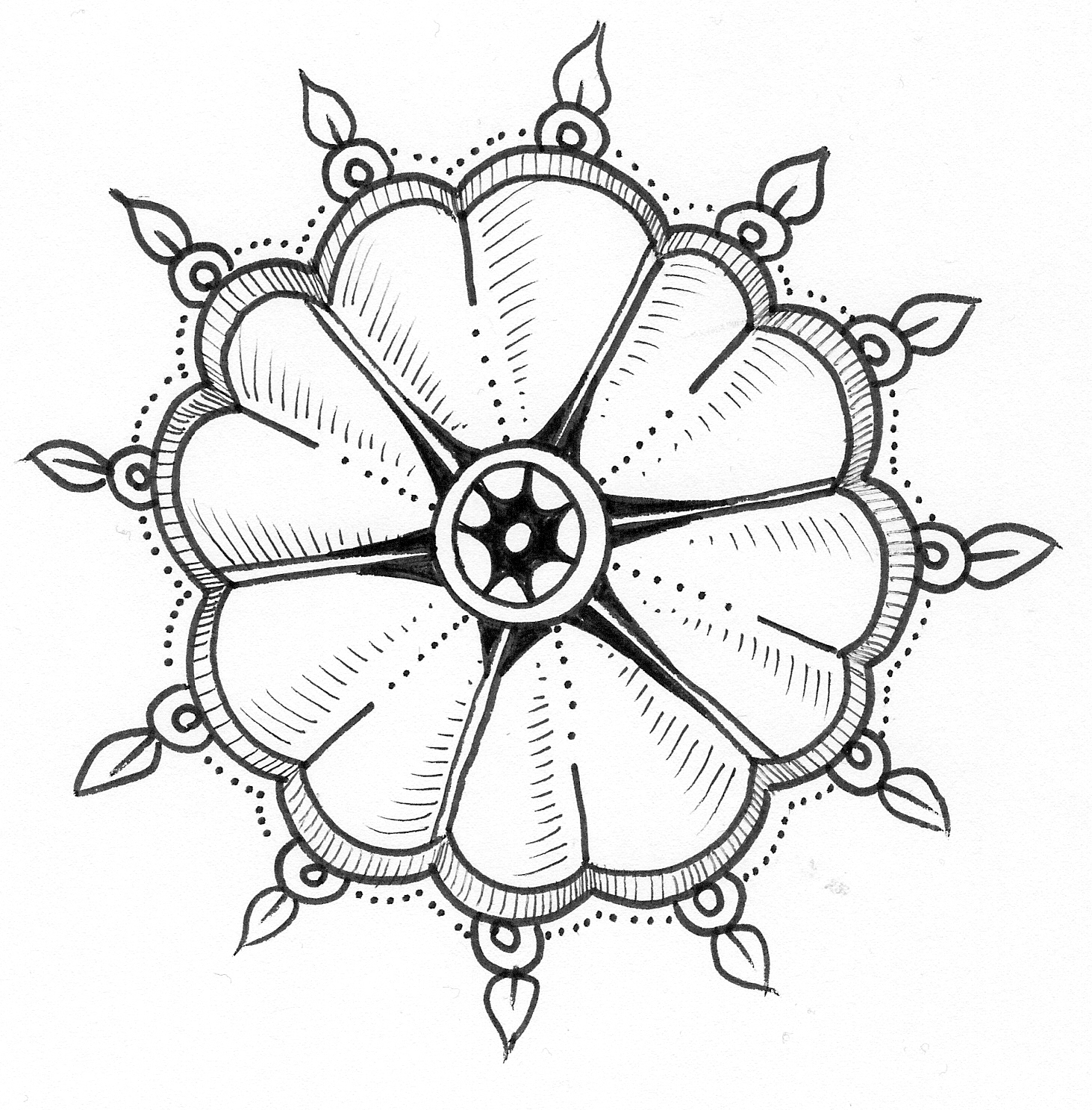 Flower of hearts dangerous doodle drawing tutorial by for Doodle tutorial