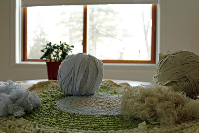 rag strip yarn balls + thread strands