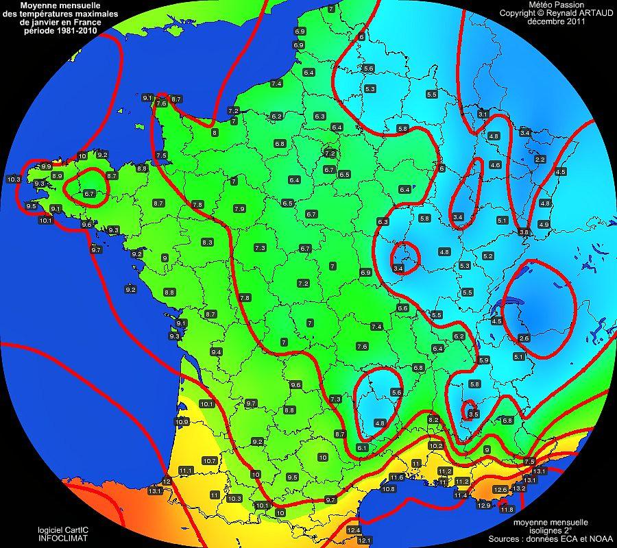 Moyennes mensuelles des temp�ratures maximales pour le mois de janvier en France sur la p�riode 1981-2010