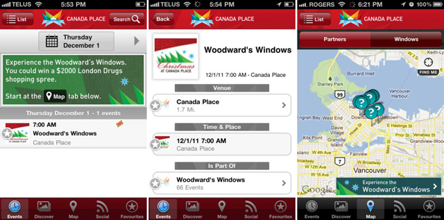 Canada Place App - Woodward's Windows