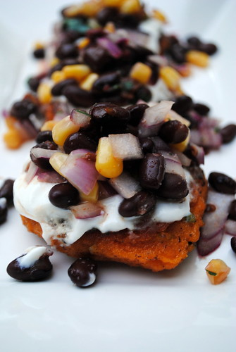 Sweet Potato Cakes with Chipotle Black Bean Salsa
