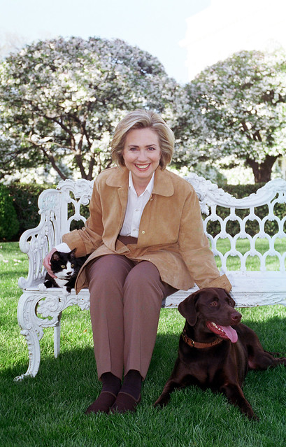 Photograph of First Lady Hillary Rodham Clinton with Socks the Cat and Buddy the Dog: 04/07/1999 from Flickr via Wylio