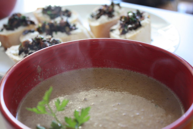 mushroom soup with home made vegetable stock