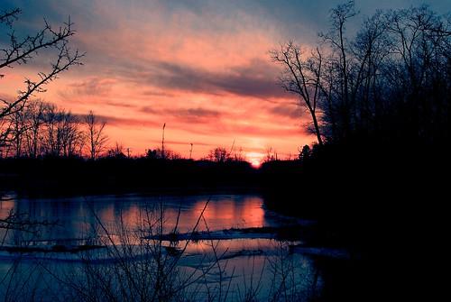 winter sunset sky cold reflection ice clouds frozen pond nikon shadows michigan annarbor greatesthits iphotooriginal 100photos fakefilm mybestwork mallettscreek d3000 nikonafs35mmf18g