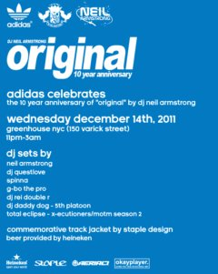"Save the date - 12/14 next wed. the 10 year anniversary of ""Original"" presented by adidas -"