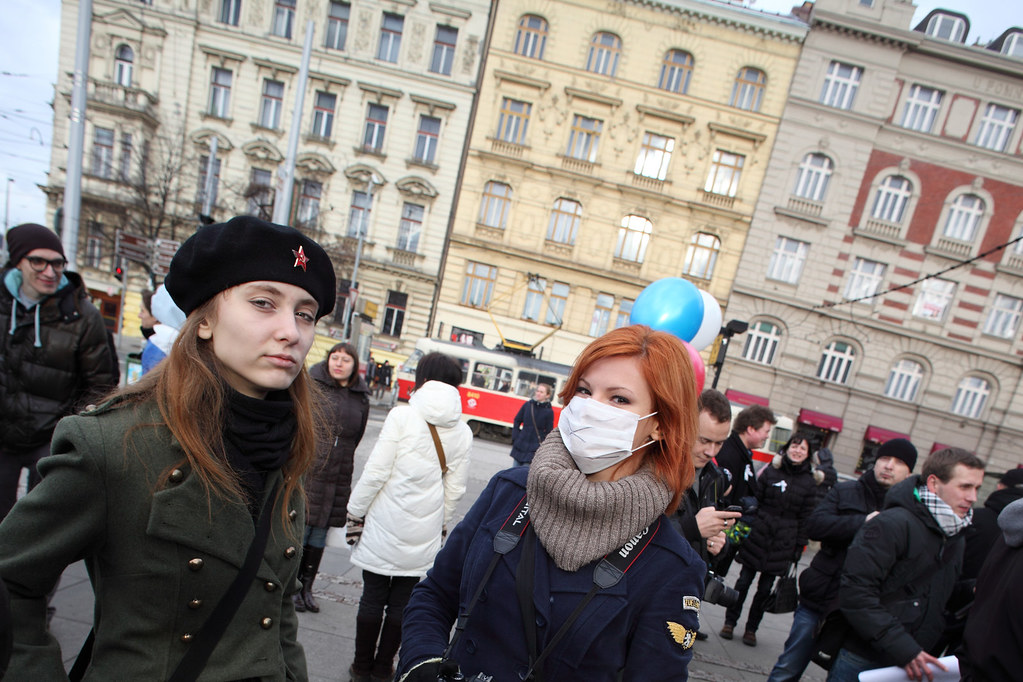 Russian protest in Prague 18