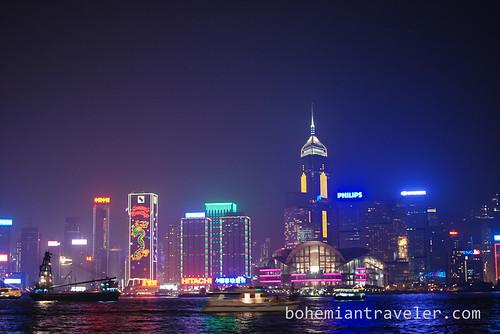View of Hong Kong skyline at night