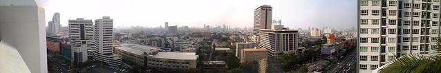 Panorama view from top of Bangkok Cha-Da Hotel, Ratchadaphisek Rd.