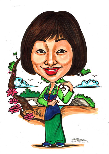 Mulan colour caricature for Khoo Teck Puat Hospital