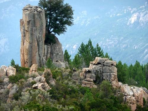Canyon de Lora : le mouflon vers le monolithe caractéristique