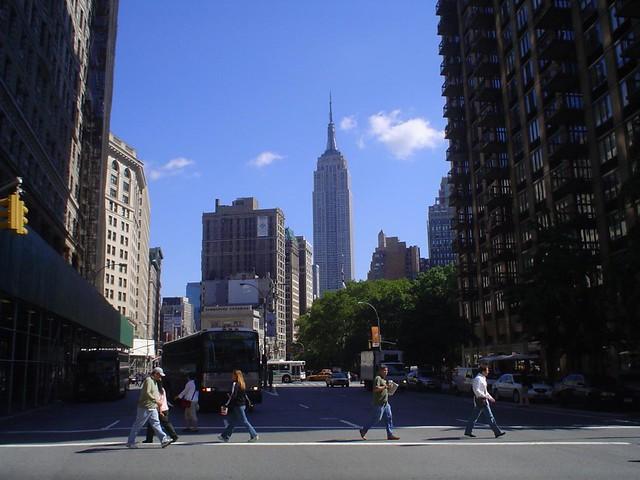 Foto vista del Empire State Building en Manhattan, Nueva York, EE.UU.