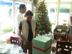 Mom tries on my present to her: a Scottevest