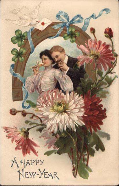 Vintage Victorian Man &Woman with Champagne New Years ... Vintage New Years Images