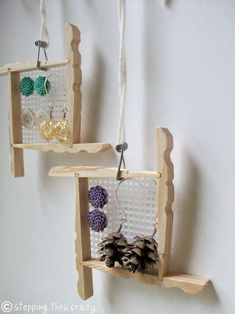 Hanging Clothespin Earring Frames