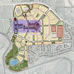 the walkable retail center is shaded in this neighborhood site plan (courtesy of Dover Kohl Town Planners)