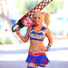 Jessica Nigri as Juliet Starling star of Lollipop Chainsaw: Bubble Gum-chewing Chainsaw Zombie killing Cheerleader 2012 Amazing AZ comic con by gbrummett