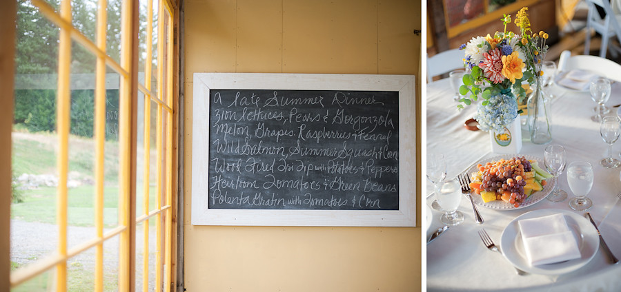 Menu and table setting at Mt. Hood Organic Farms.