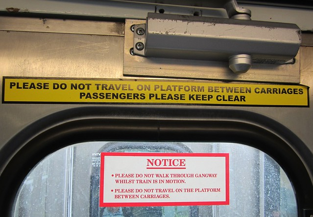 Comeng train: notice at end of carriage