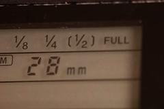 LCD on Minolta 4000AF flash showing power adjustment