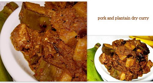 Pork and plantain curry kerala style. (panni and nenthrakai ularthiyathu) by {deepapraveen very busy with work..back soon
