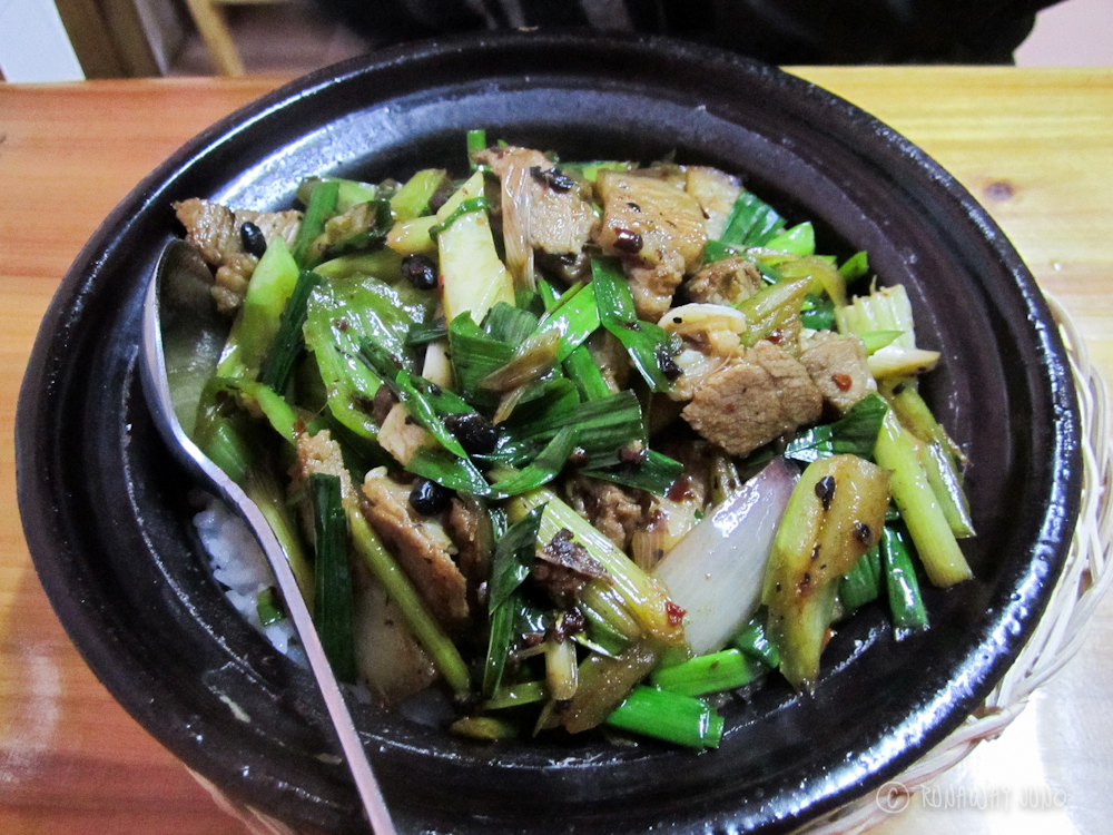 Twiced cooked pork claypot Yangshuo Guangxi China