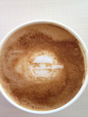 Today's latte, The Laughing Man in GHOST IN THE SHELL.