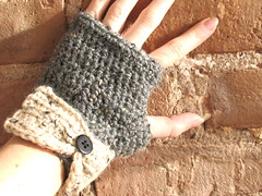 Tweed Crochet Fingerless Gloves