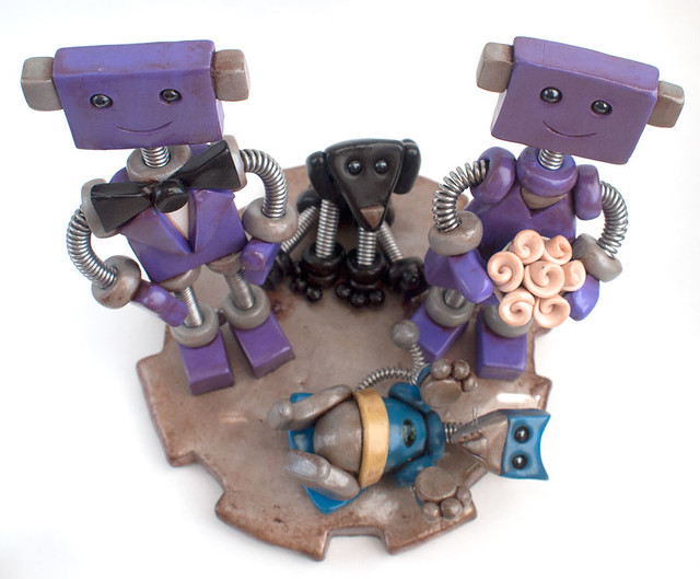 Robot Wedding Cake Topper Lightly Rustic Purple with dog and batcat