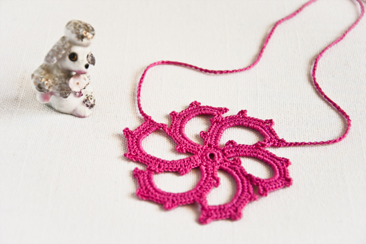 crochet pinwheel necklace pink