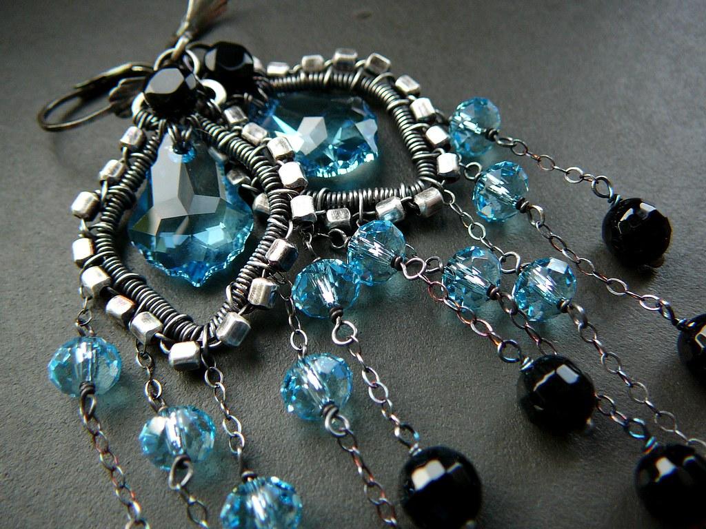 Baby Blue Wire Wrapped Chandelier Earrings